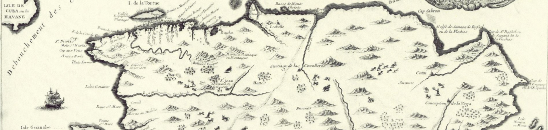 French map of Saint-Domingue French colony in Hispanola island, by Nicolas de Fer